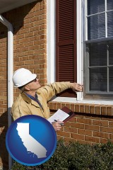 california a building inspector inspecting home windows
