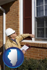 illinois a building inspector inspecting home windows