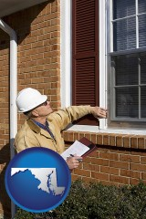 maryland a building inspector inspecting home windows