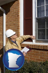 minnesota map icon and a building inspector inspecting home windows