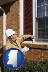 mississippi a building inspector inspecting home windows