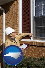 north-carolina map icon and a building inspector inspecting home windows