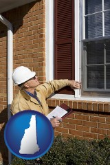 new-hampshire map icon and a building inspector inspecting home windows