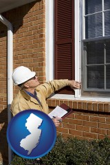 new-jersey a building inspector inspecting home windows