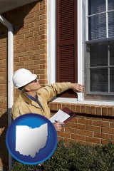 ohio a building inspector inspecting home windows