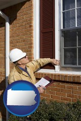 pennsylvania a building inspector inspecting home windows