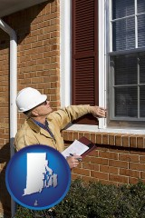 rhode-island a building inspector inspecting home windows