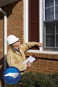 a building inspector inspecting home windows - with North Carolina icon